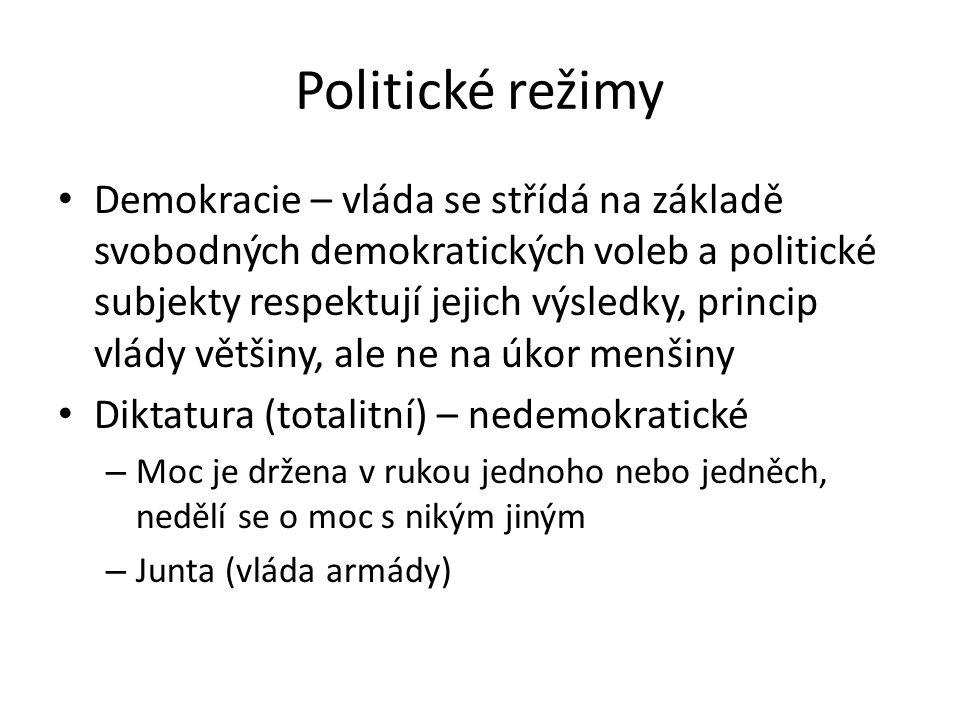 Politické režimy Demokracie – vláda se střídá na základě svobodných demokratických voleb a politické subjekty respektují jejich výsledky, princip vlády většiny, ale ne na úkor menšiny Diktatura (totalitní) – nedemokratické – Moc je držena v rukou jednoho nebo jedněch, nedělí se o moc s nikým jiným – Junta (vláda armády)