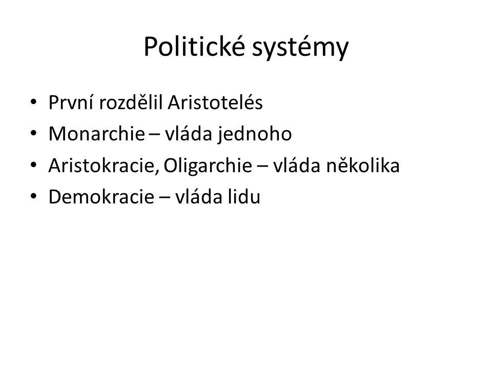 Politické systémy První rozdělil Aristotelés Monarchie – vláda jednoho Aristokracie, Oligarchie – vláda několika Demokracie – vláda lidu