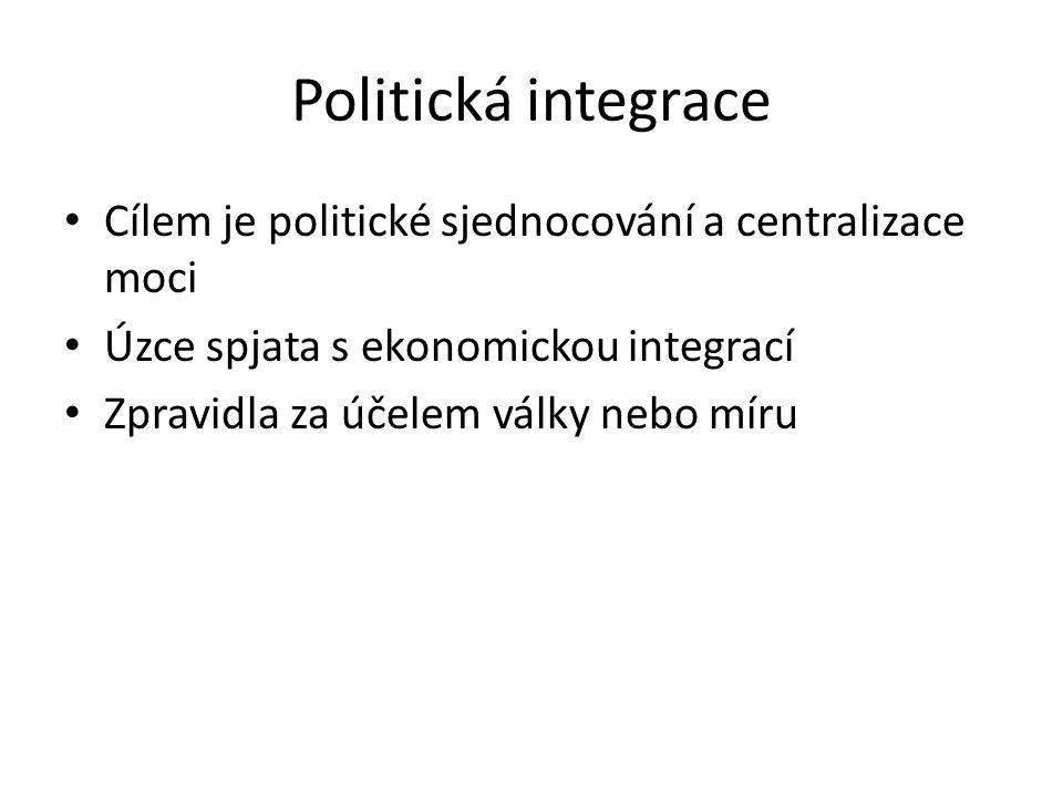 Politická integrace Cílem je politické sjednocování a centralizace moci Úzce spjata s ekonomickou integrací Zpravidla za účelem války nebo míru