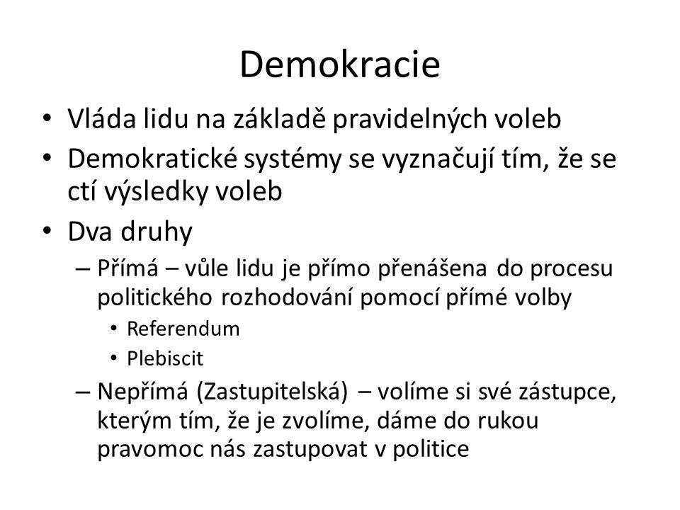 Demokracie Vláda lidu na základě pravidelných voleb Demokratické systémy se vyznačují tím, že se ctí výsledky voleb Dva druhy – Přímá – vůle lidu je přímo přenášena do procesu politického rozhodování pomocí přímé volby Referendum Plebiscit – Nepřímá (Zastupitelská) – volíme si své zástupce, kterým tím, že je zvolíme, dáme do rukou pravomoc nás zastupovat v politice