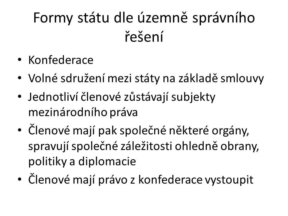 Formy státu dle územně správního řešení Konfederace Volné sdružení mezi státy na základě smlouvy Jednotliví členové zůstávají subjekty mezinárodního p