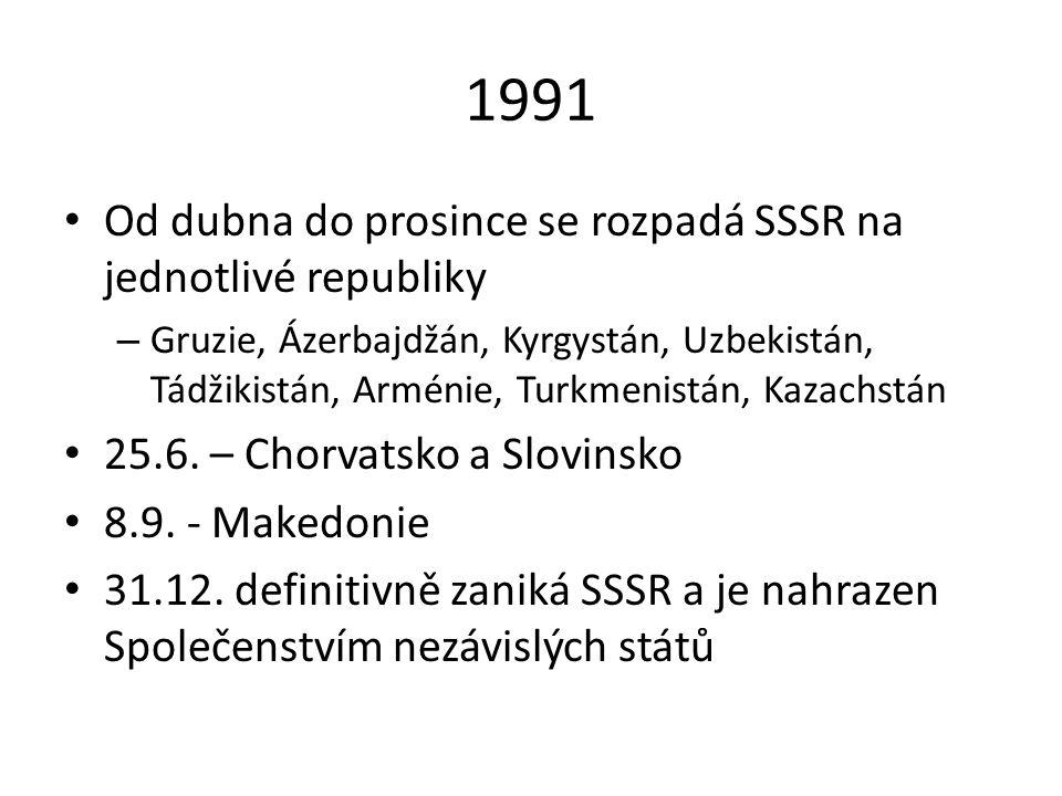 1991 Od dubna do prosince se rozpadá SSSR na jednotlivé republiky – Gruzie, Ázerbajdžán, Kyrgystán, Uzbekistán, Tádžikistán, Arménie, Turkmenistán, Ka