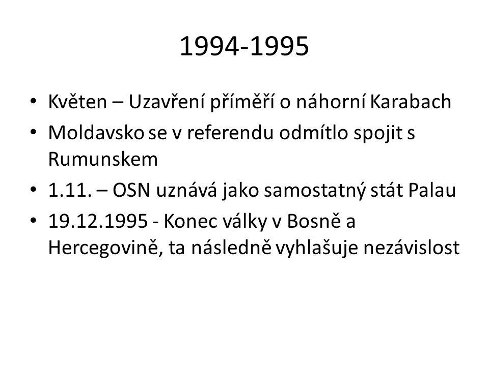 1994-1995 Květen – Uzavření příměří o náhorní Karabach Moldavsko se v referendu odmítlo spojit s Rumunskem 1.11. – OSN uznává jako samostatný stát Pal