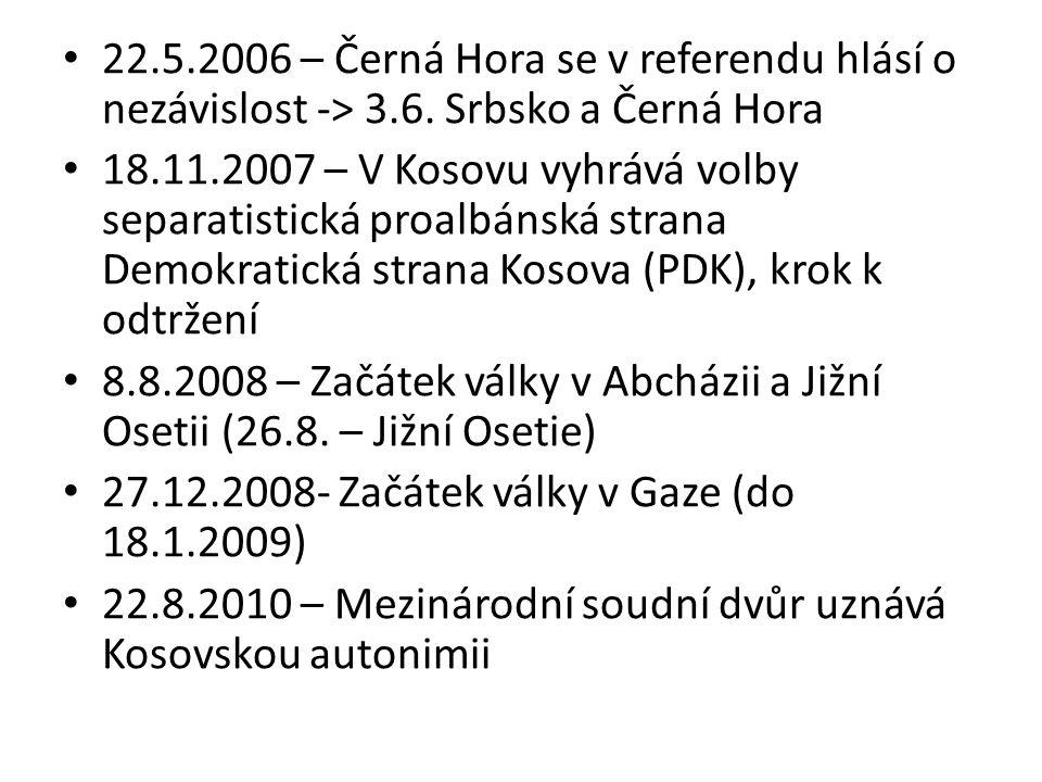 22.5.2006 – Černá Hora se v referendu hlásí o nezávislost -> 3.6. Srbsko a Černá Hora 18.11.2007 – V Kosovu vyhrává volby separatistická proalbánská s