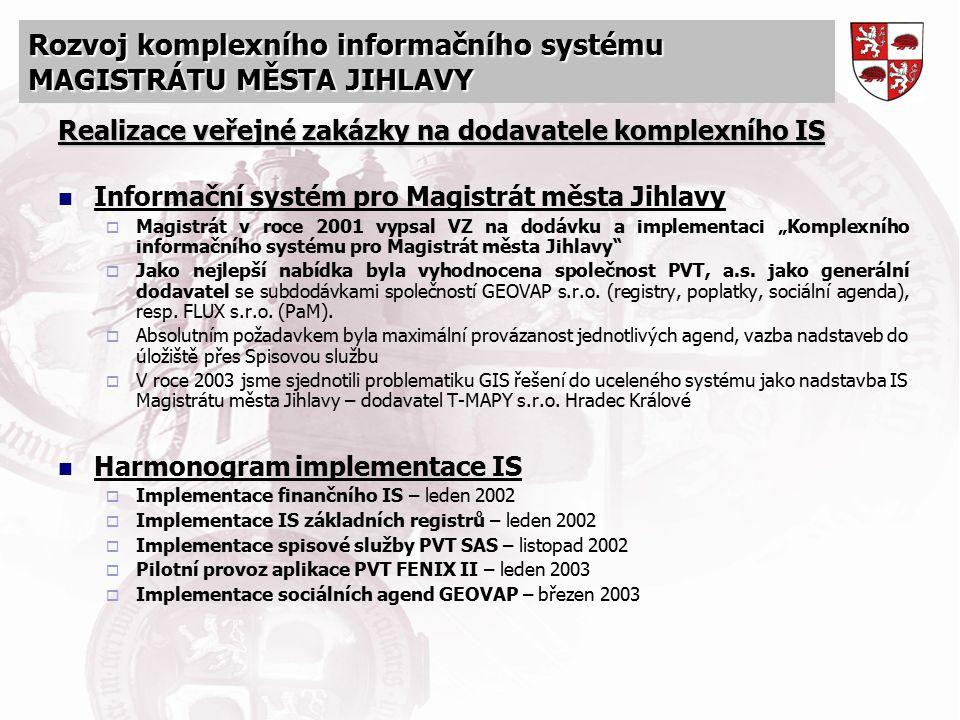 Rozvoj komplexního informačního systému MAGISTRÁTU MĚSTA JIHLAVY Realizace veřejné zakázky na dodavatele komplexního IS Informační systém pro Magistrá