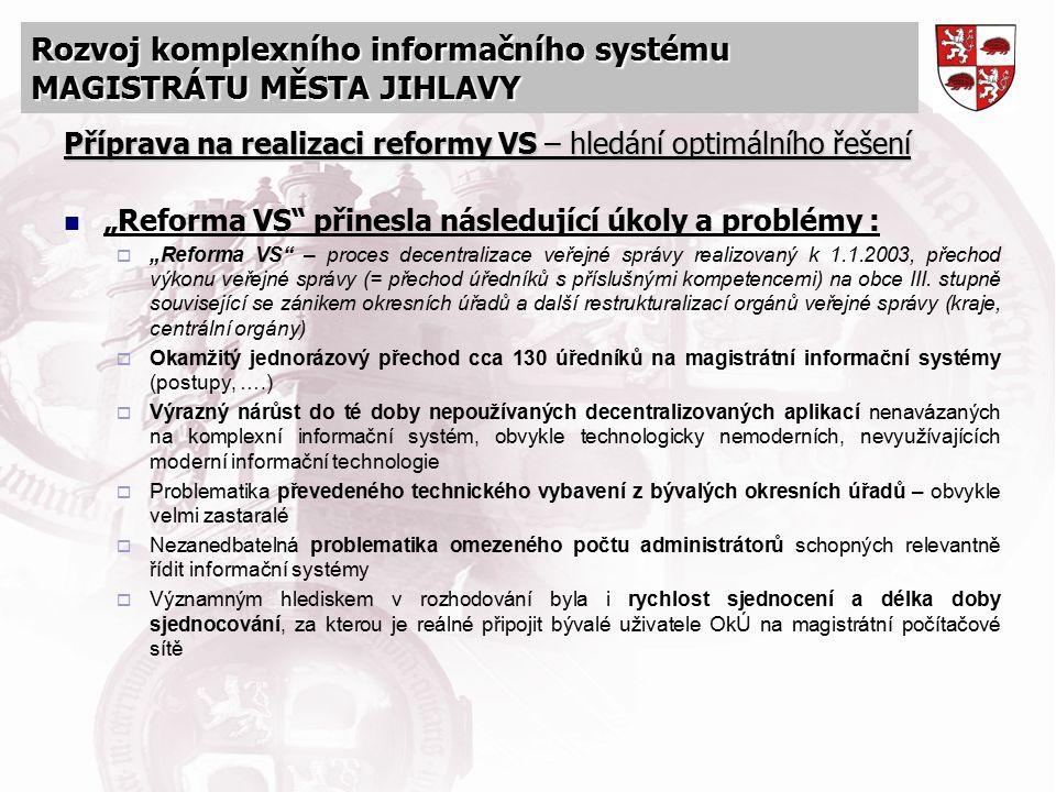 """Rozvoj komplexního informačního systému MAGISTRÁTU MĚSTA JIHLAVY Příprava na realizaci reformy VS – hledání optimálního řešení """"Reforma VS"""" přinesla n"""