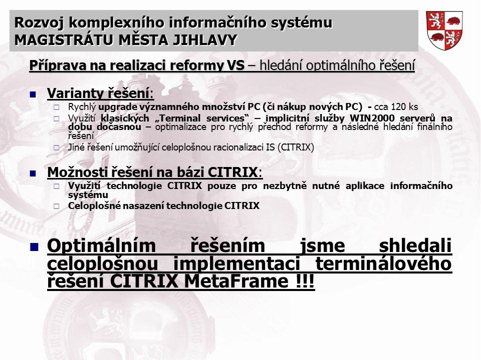 Rozvoj komplexního informačního systému MAGISTRÁTU MĚSTA JIHLAVY Příprava na realizaci reformy VS – hledání optimálního řešení Varianty řešení:  Rych