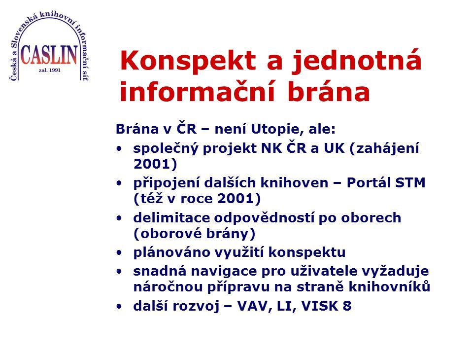 Konspekt a jednotná informační brána Brána v ČR – není Utopie, ale: společný projekt NK ČR a UK (zahájení 2001) připojení dalších knihoven – Portál STM (též v roce 2001) delimitace odpovědností po oborech (oborové brány) plánováno využití konspektu snadná navigace pro uživatele vyžaduje náročnou přípravu na straně knihovníků další rozvoj – VAV, LI, VISK 8