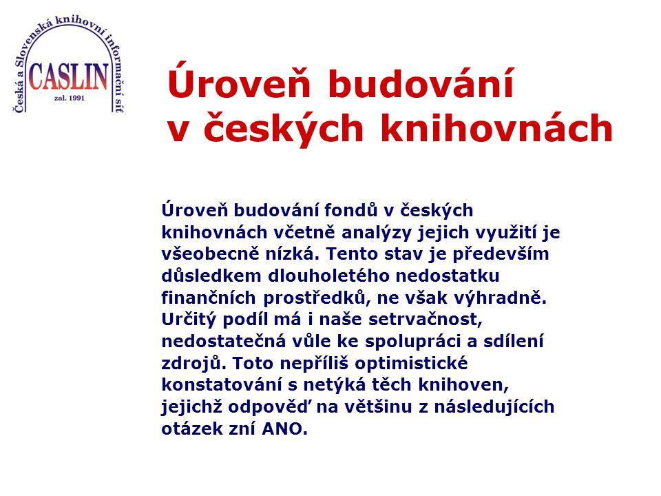 Úroveň budování v českých knihovnách Úroveň budování fondů v českých knihovnách včetně analýzy jejich využití je všeobecně nízká.