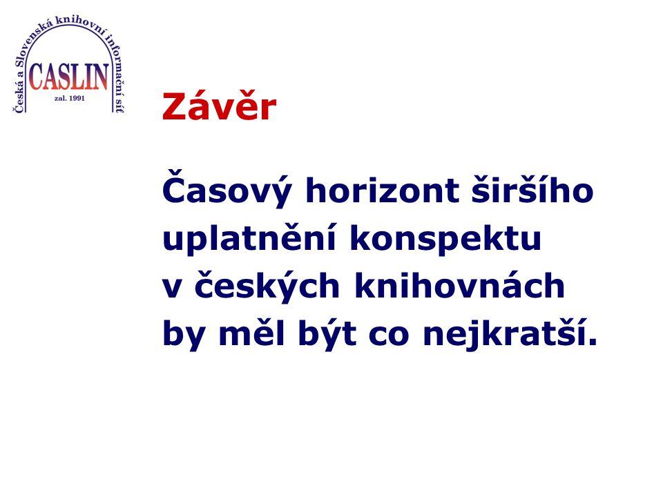 Závěr Časový horizont širšího uplatnění konspektu v českých knihovnách by měl být co nejkratší.