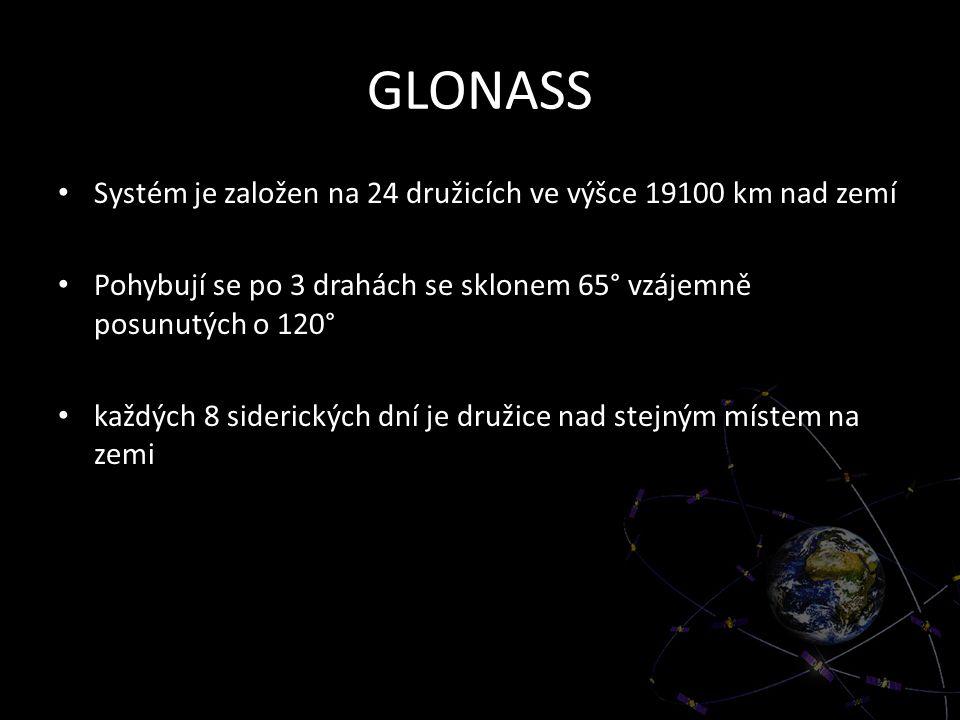 GLONASS Systém je založen na 24 družicích ve výšce 19100 km nad zemí Pohybují se po 3 drahách se sklonem 65° vzájemně posunutých o 120° každých 8 side