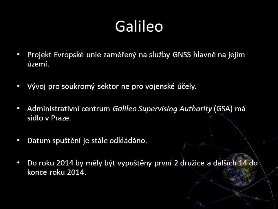 Galileo Projekt Evropské unie zaměřený na služby GNSS hlavně na jejím území. Vývoj pro soukromý sektor ne pro vojenské účely. Administrativní centrum