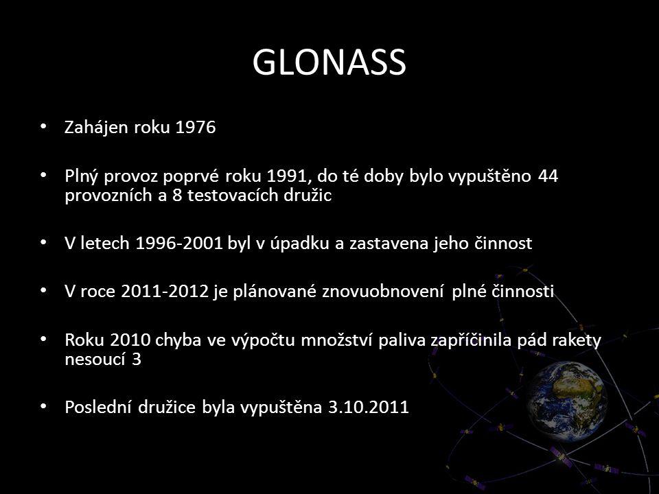 GLONASS Zahájen roku 1976 Plný provoz poprvé roku 1991, do té doby bylo vypuštěno 44 provozních a 8 testovacích družic V letech 1996-2001 byl v úpadku