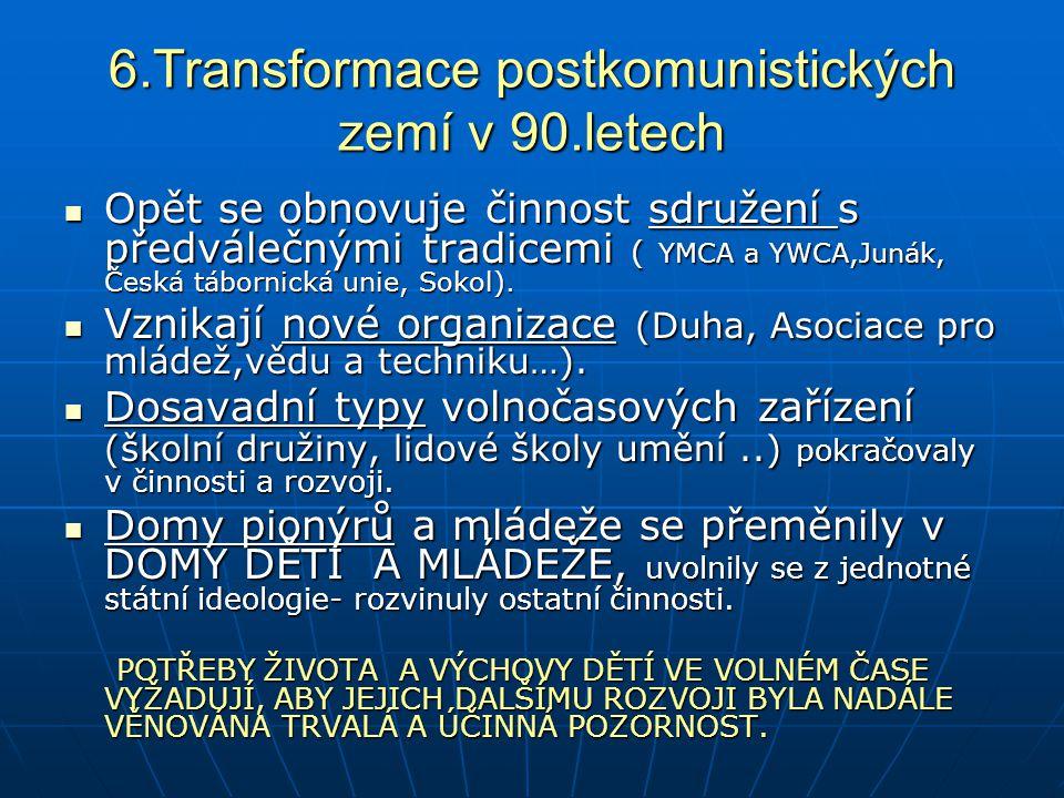 6.Transformace postkomunistických zemí v 90.letech Opět se obnovuje činnost sdružení s předválečnými tradicemi ( YMCA a YWCA,Junák, Česká tábornická u