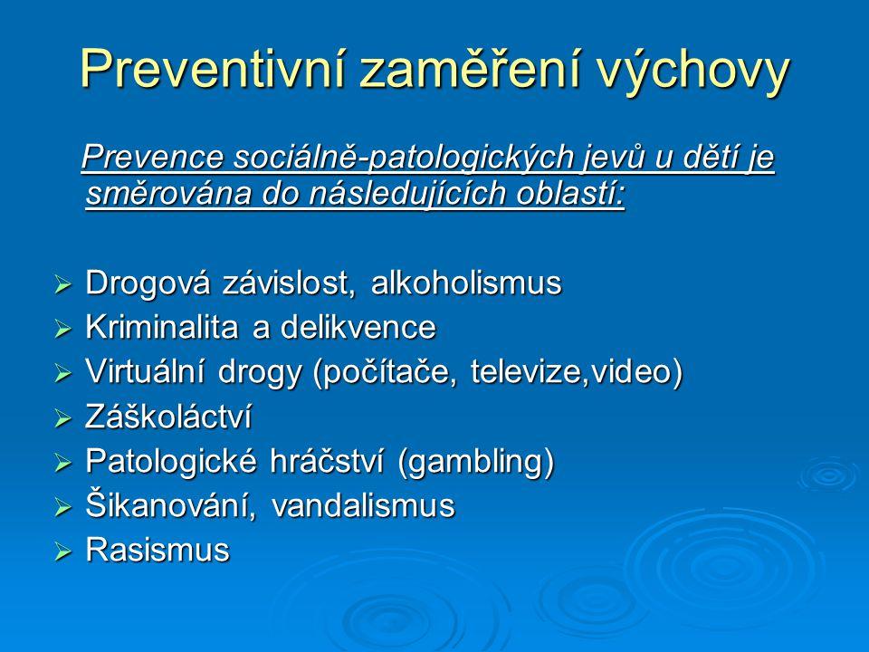 Preventivní zaměření výchovy Prevence sociálně-patologických jevů u dětí je směrována do následujících oblastí: Prevence sociálně-patologických jevů u