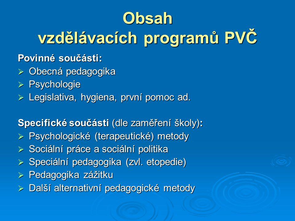 Obsah vzdělávacích programů PVČ Povinné součásti:  Obecná pedagogika  Psychologie  Legislativa, hygiena, první pomoc ad. Specifické součásti (dle z