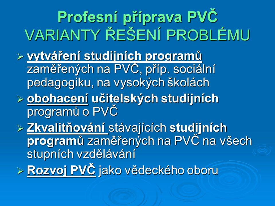 Profesní příprava PVČ VARIANTY ŘEŠENÍ PROBLÉMU  vytváření studijních programů zaměřených na PVČ, příp. sociální pedagogiku, na vysokých školách  obo