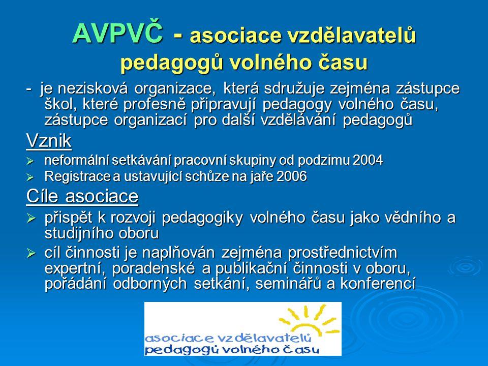 AVPVČ - asociace vzdělavatelů pedagogů volného času - je nezisková organizace, která sdružuje zejména zástupce škol, které profesně připravují pedagog