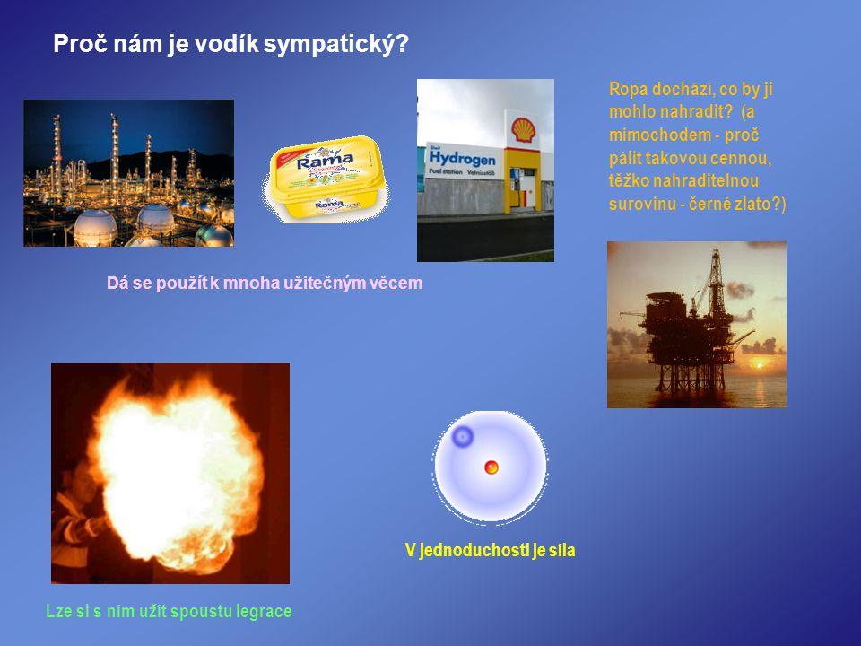 Proč nám je vodík sympatický? Ropa dochází, co by ji mohlo nahradit? (a mimochodem - proč pálit takovou cennou, těžko nahraditelnou surovinu - černé z