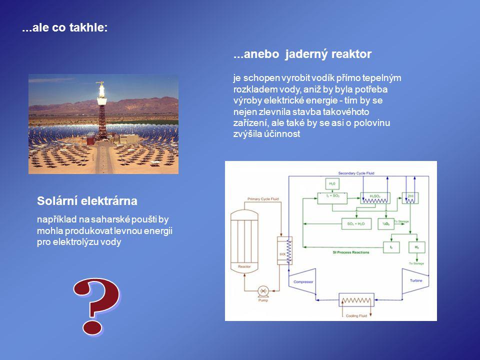 ...ale co takhle: Solární elektrárna například na saharské poušti by mohla produkovat levnou energii pro elektrolýzu vody...anebo jaderný reaktor je schopen vyrobit vodík přímo tepelným rozkladem vody, aniž by byla potřeba výroby elektrické energie - tím by se nejen zlevnila stavba takovéhoto zařízení, ale také by se asi o polovinu zvýšila účinnost