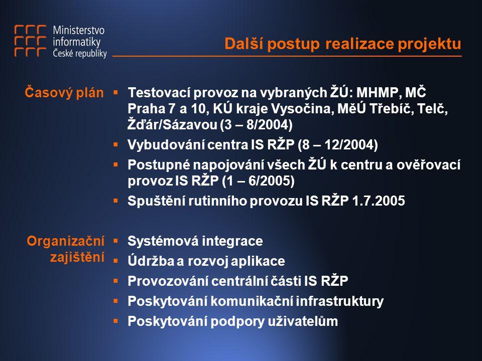 Další postup realizace projektu  Testovací provoz na vybraných ŽÚ: MHMP, MČ Praha 7 a 10, KÚ kraje Vysočina, MěÚ Třebíč, Telč, Žďár/Sázavou (3 – 8/2004)  Vybudování centra IS RŽP (8 – 12/2004)  Postupné napojování všech ŽÚ k centru a ověřovací provoz IS RŽP (1 – 6/2005)  Spuštění rutinního provozu IS RŽP 1.7.2005  Systémová integrace  Údržba a rozvoj aplikace  Provozování centrální části IS RŽP  Poskytování komunikační infrastruktury  Poskytování podpory uživatelům Časový plán Organizační zajištění