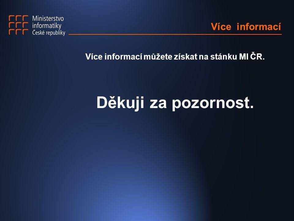Více informací Více informací můžete získat na stánku MI ČR. Děkuji za pozornost.