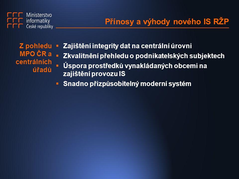 Přínosy a výhody nového IS RŽP  Zajištění integrity dat na centrální úrovni  Zkvalitnění přehledu o podnikatelských subjektech  Úspora prostředků vynakládaných obcemi na zajištění provozu IS  Snadno přizpůsobitelný moderní systém Z pohledu MPO ČR a centrálních úřadů