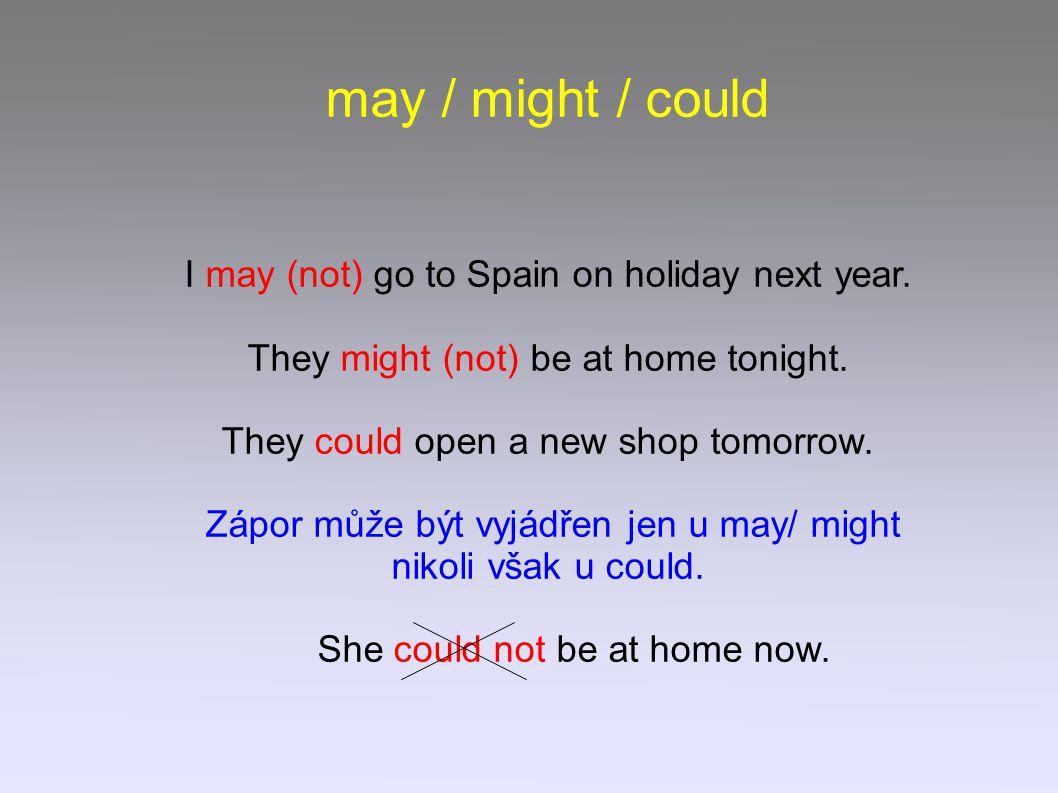 may / might / could May (not), might (not), could používáme pro děje, které považujeme za možné, uskutečnitelné 1) v přítomnosti She might be at home now.
