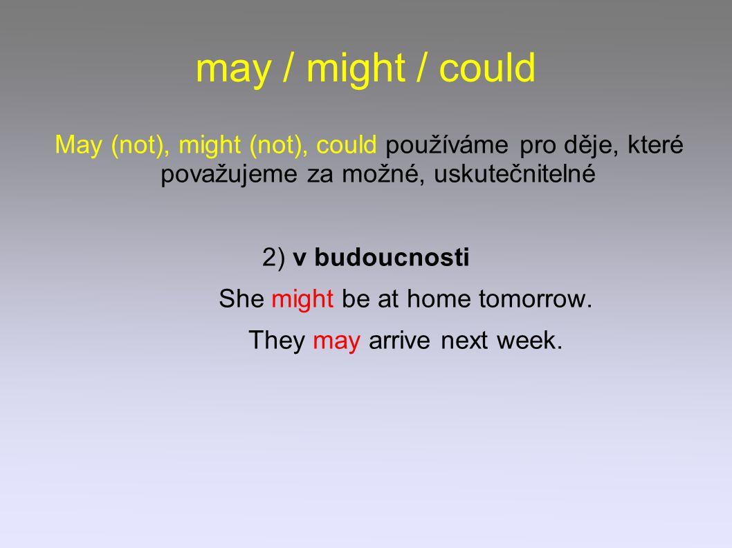 may / might / could May (not), might (not), could používáme pro děje, které považujeme za možné, uskutečnitelné 2) v budoucnosti She might be at home