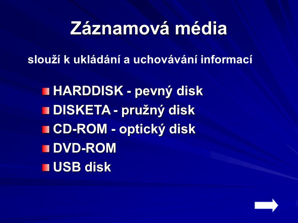 Záznamová média slouží k ukládání a uchovávání informací HARDDISK - pevný disk DISKETA - pružný disk CD-ROM - optický disk DVD-ROM USB disk