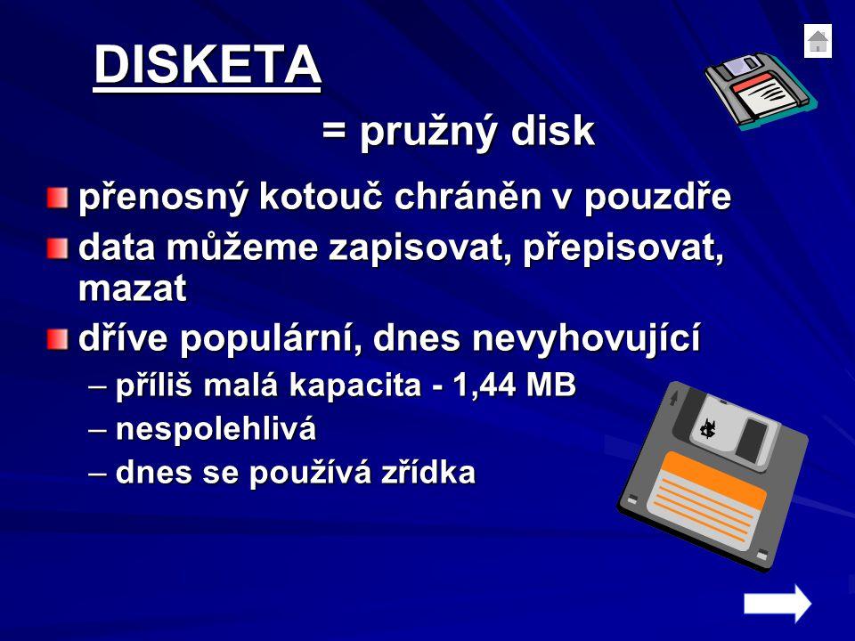 DISKETA = pružný disk přenosný kotouč chráněn v pouzdře data můžeme zapisovat, přepisovat, mazat dříve populární, dnes nevyhovující –příliš malá kapac