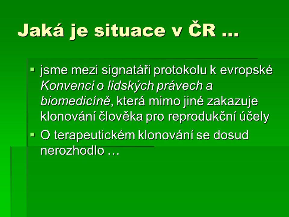 Jaká je situace v ČR …  jsme mezi signatáři protokolu k evropské Konvenci o lidských právech a biomedicíně, která mimo jiné zakazuje klonování člověka pro reprodukční účely  O terapeutickém klonování se dosud nerozhodlo …