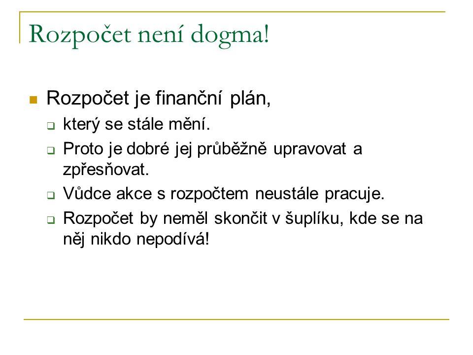 Rozpočet není dogma! Rozpočet je finanční plán,  který se stále mění.  Proto je dobré jej průběžně upravovat a zpřesňovat.  Vůdce akce s rozpočtem