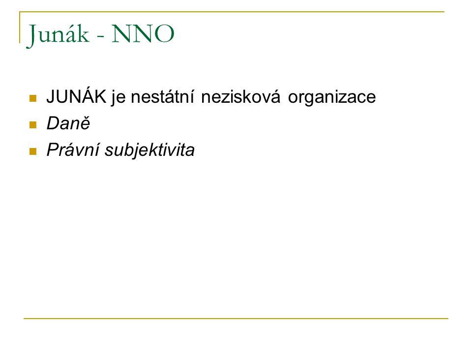 JUNÁK je nestátní nezisková organizace Daně Právní subjektivita Junák - NNO