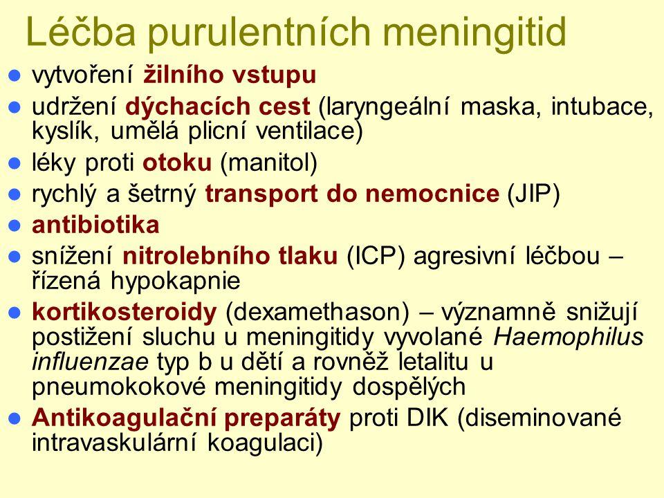 Léčba purulentních meningitid vytvoření žilního vstupu udržení dýchacích cest (laryngeální maska, intubace, kyslík, umělá plicní ventilace) léky proti