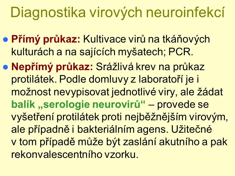 Diagnostika virových neuroinfekcí Přímý průkaz: Kultivace virů na tkáňových kulturách a na sajících myšatech; PCR. Nepřímý průkaz: Srážlivá krev na pr