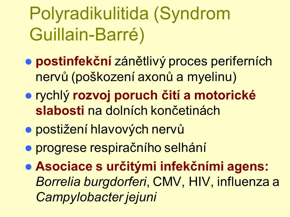 Polyradikulitida (Syndrom Guillain-Barré) postinfekční zánětlivý proces periferních nervů (poškození axonů a myelinu) rychlý rozvoj poruch čití a moto