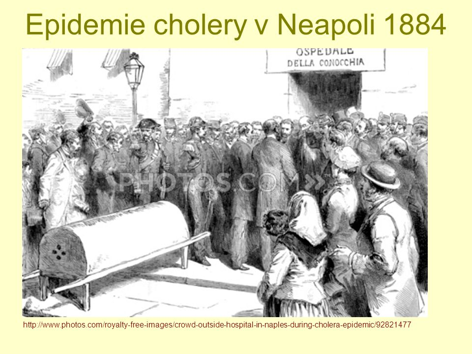 Epidemie cholery v Neapoli 1884 http://www.photos.com/royalty-free-images/crowd-outside-hospital-in-naples-during-cholera-epidemic/92821477