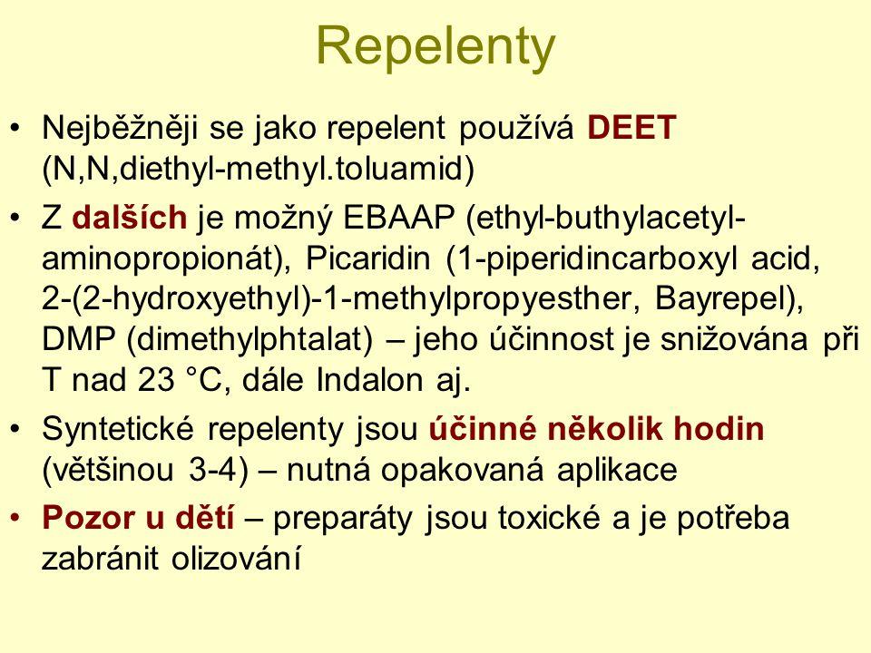 Repelenty Nejběžněji se jako repelent používá DEET (N,N,diethyl-methyl.toluamid) Z dalších je možný EBAAP (ethyl-buthylacetyl- aminopropionát), Picari