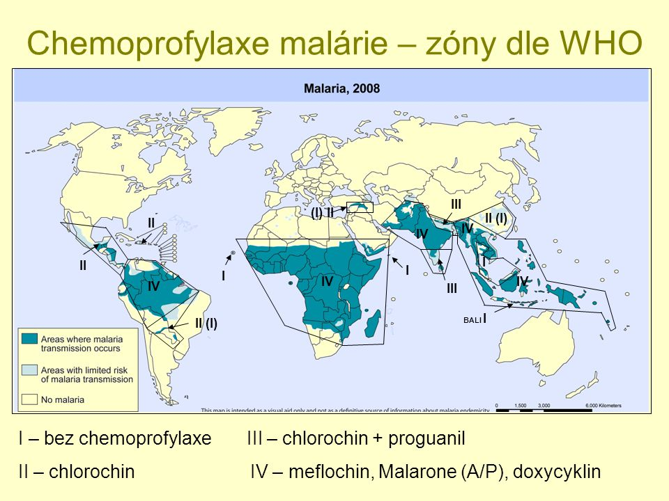I IV I II II (I) IV (I) II III IV BALI I II (I) III IV I I – bez chemoprofylaxe II – chlorochin III – chlorochin + proguanil IV – meflochin, Malarone