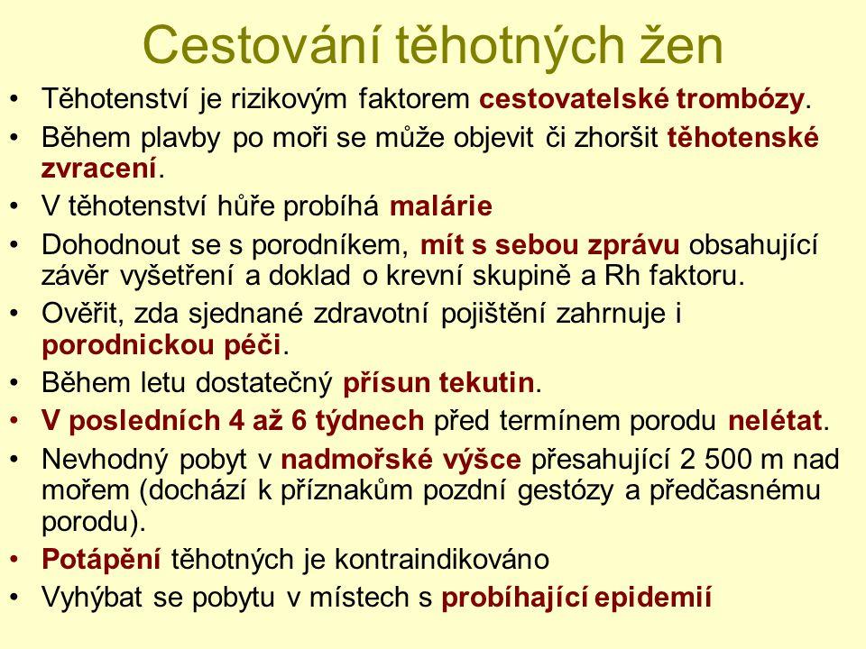 I IV I II II (I) IV (I) II III IV BALI I II (I) III IV I I – bez chemoprofylaxe II – chlorochin III – chlorochin + proguanil IV – meflochin, Malarone (A/P), doxycyklin Chemoprofylaxe malárie – zóny dle WHO