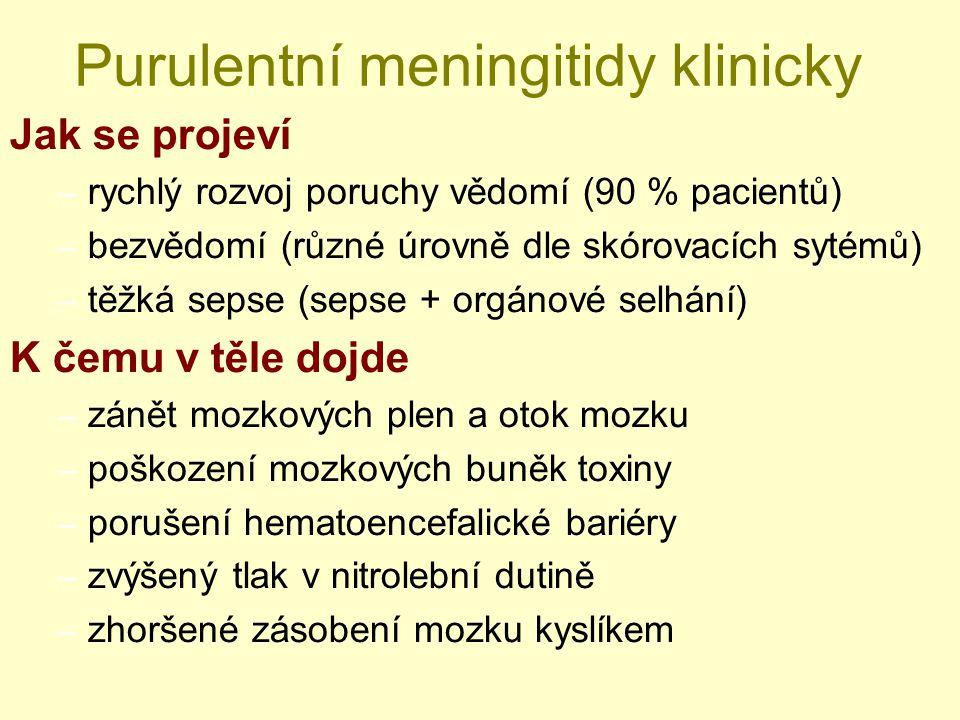 Purulentní meningitidy klinicky Jak se projeví – rychlý rozvoj poruchy vědomí (90 % pacientů) – bezvědomí (různé úrovně dle skórovacích sytémů) – těžk
