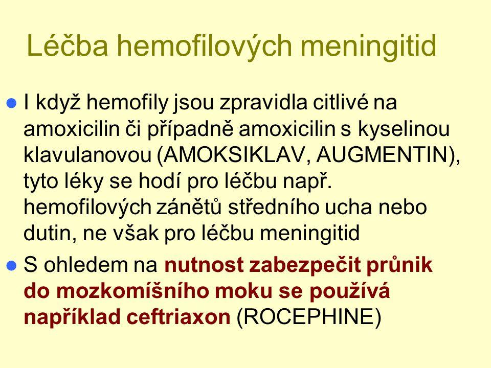 Léčba hemofilových meningitid I když hemofily jsou zpravidla citlivé na amoxicilin či případně amoxicilin s kyselinou klavulanovou (AMOKSIKLAV, AUGMEN