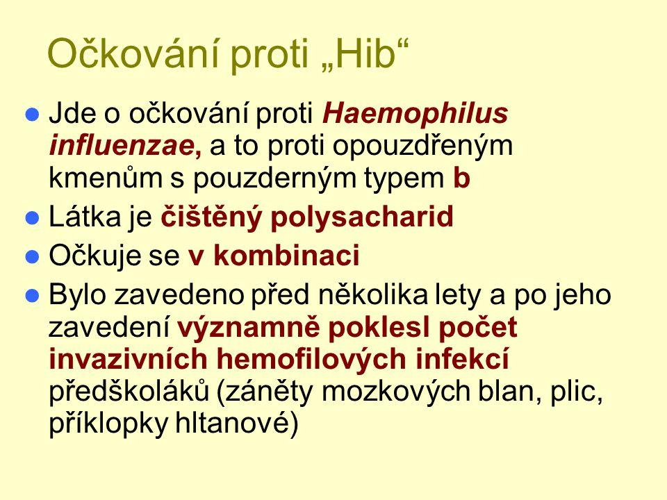 """Očkování proti """"Hib"""" Jde o očkování proti Haemophilus influenzae, a to proti opouzdřeným kmenům s pouzderným typem b Látka je čištěný polysacharid Očk"""