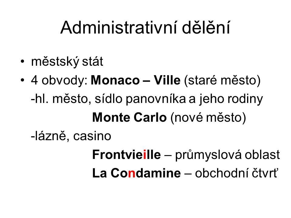 Administrativní dělění městský stát 4 obvody: Monaco – Ville (staré město) -hl. město, sídlo panovníka a jeho rodiny Monte Carlo (nové město) -lázně,