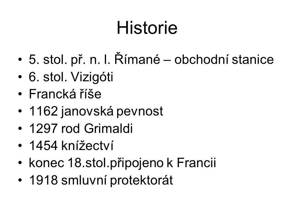 Historie 5. stol. př. n. l. Římané – obchodní stanice 6. stol. Vizigóti Francká říše 1162 janovská pevnost 1297 rod Grimaldi 1454 knížectví konec 18.s