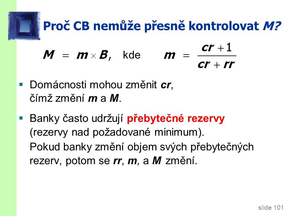 slide 101 Proč CB nemůže přesně kontrolovat M. Domácnosti mohou změnit cr, čímž změní m a M.