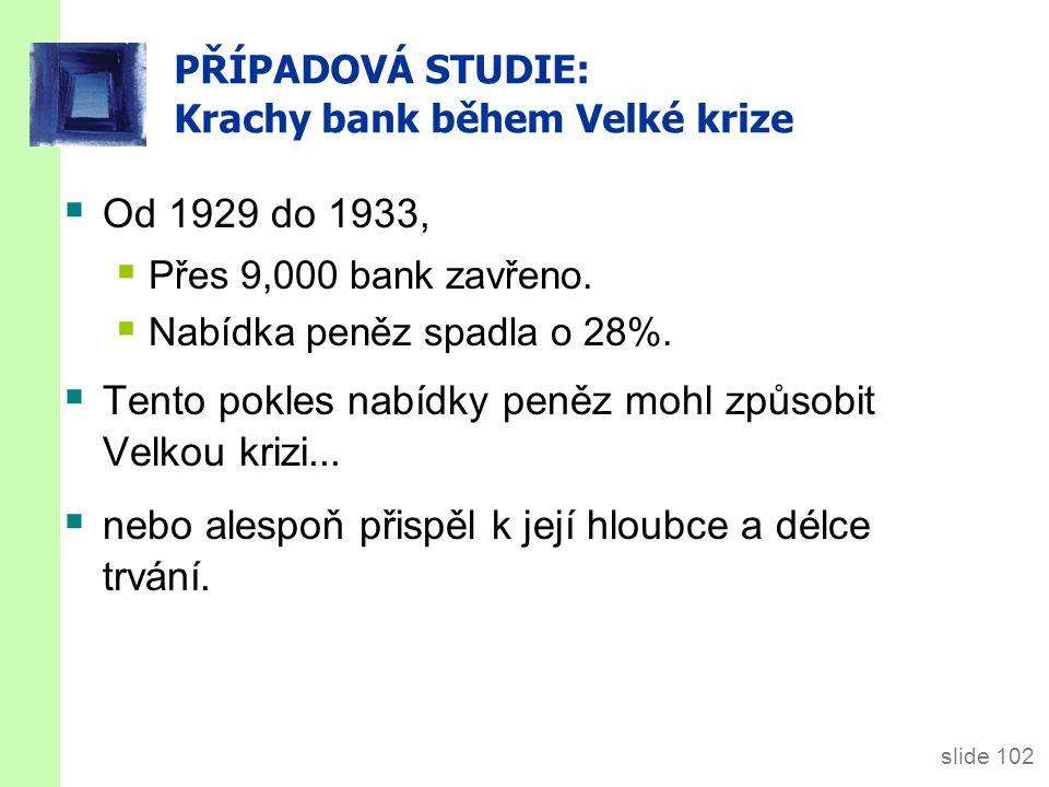 slide 102 PŘÍPADOVÁ STUDIE: Krachy bank během Velké krize  Od 1929 do 1933,  Přes 9,000 bank zavřeno.