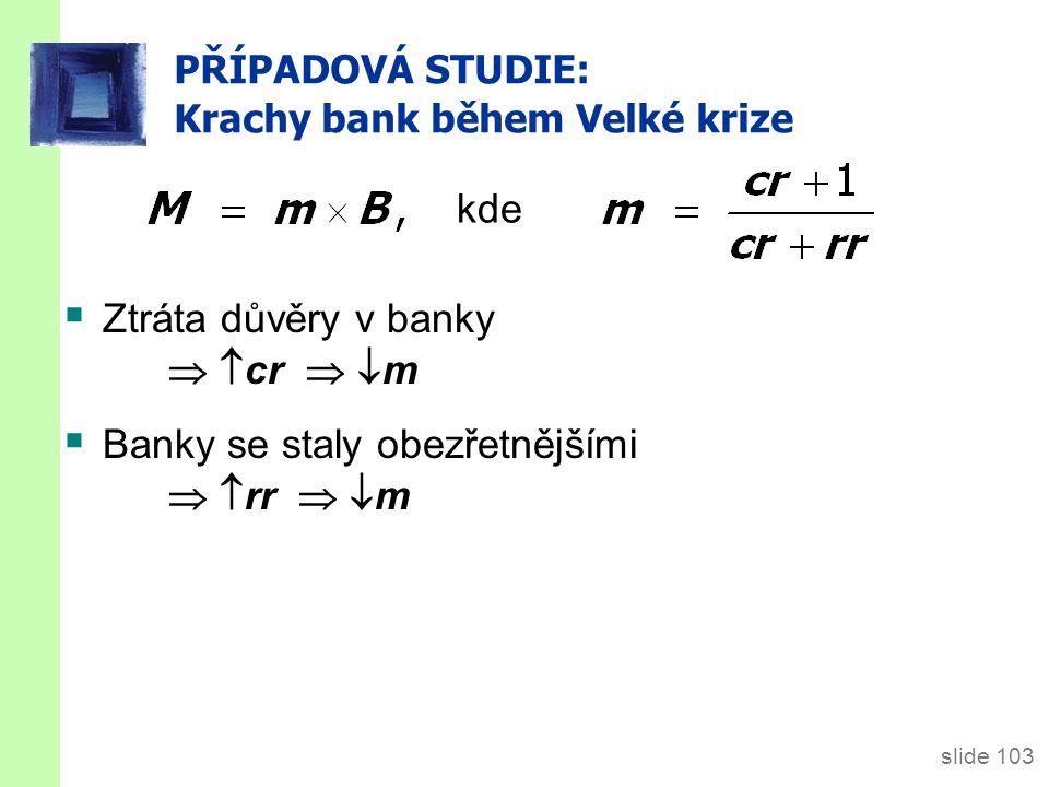 slide 103 PŘÍPADOVÁ STUDIE: Krachy bank během Velké krize  Ztráta důvěry v banky   cr   m  Banky se staly obezřetnějšími   rr   m kde