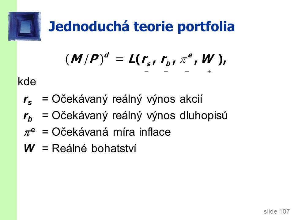 slide 107 Jednoduchá teorie portfolia kde r s = Očekávaný reálný výnos akcií r b = Očekávaný reálný výnos dluhopisů  e = Očekávaná míra inflace W = Reálné bohatství